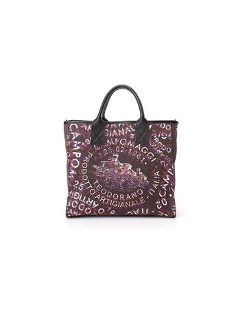 Campomaggi Shopping bag. Small. Genuine Leather + Canvas. Overlapping Print. Brown + Black + White + Baked + Violet Print
