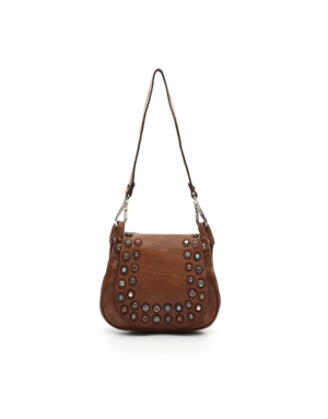 "Campomaggi Crossbody w Studs ""Ravena"". Small. Genuine leather. Cognac."