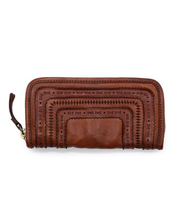 Campomaggi 100% genuine leather. Wallet. Laser Corallo. Cognac.