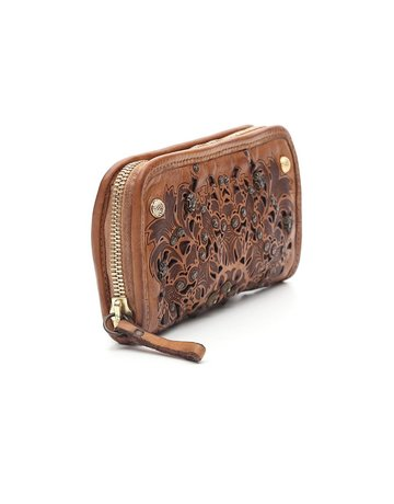 Campomaggi 100% genuine leather. Wallet. Bleached + Studs + Strass Laser Serenoa. Cognac.