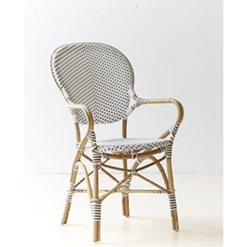 Affaire Isabell Arm Chair, White with Cappucino Dots