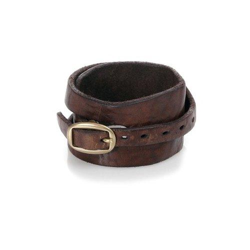 Campomaggi Cowhide Leather Bracelet, Dark Brown