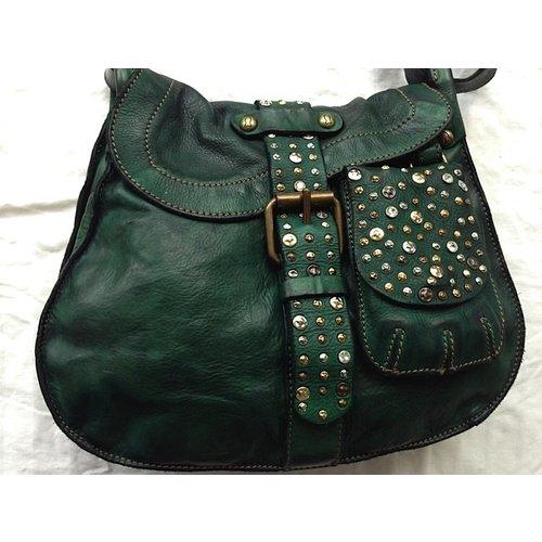 Campomaggi Cowhide Leather Shoulder Bag,  Bottle Green