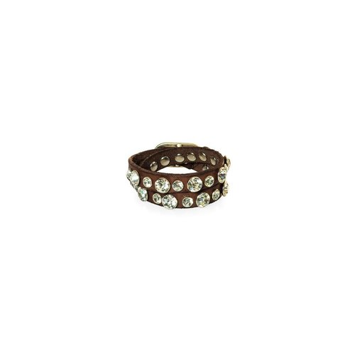 Campomaggi 100% leather bracelet. 2 band with bling. Dark brown.