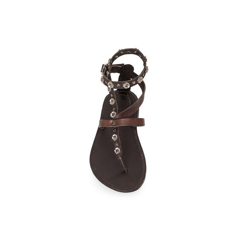 Campomaggi Geniune leather sandals. Loop strap with studs. Moro. Size 38