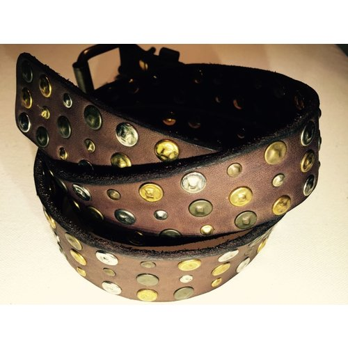 Campomaggi Cowhide Leather Belt with studs. Dark brown. SIZE 85