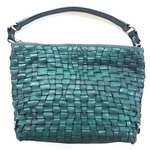 Campomaggi 100% genuine leather. Medium size handbag. Woven. Green bottle