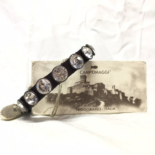 Campomaggi Leather Bracelet. Single strand. 6 big crystals. Moro.