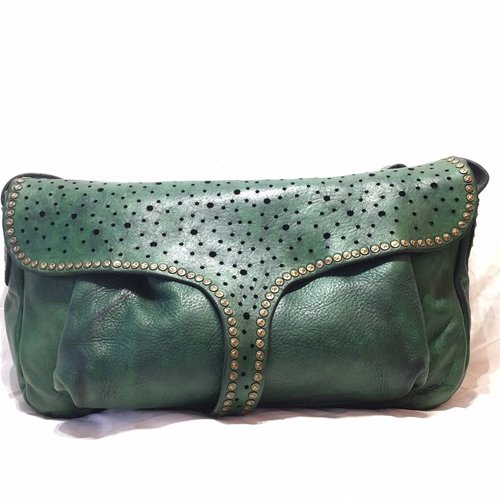 Campomaggi Line CILIEGIO. <br /> shoulder bag. Long flap. Starry night. Green bottle.