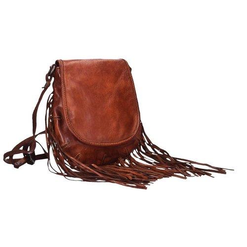 Campomaggi 100% Genuine leather. Fringe shoulder bag. Cognac.