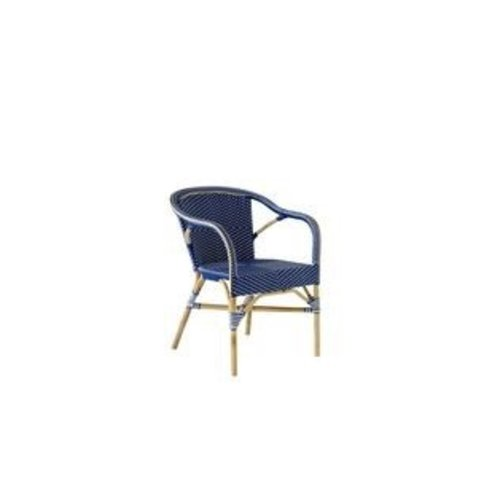 Affaire Madeleine chair. Predominantly white with Navy Blue dots