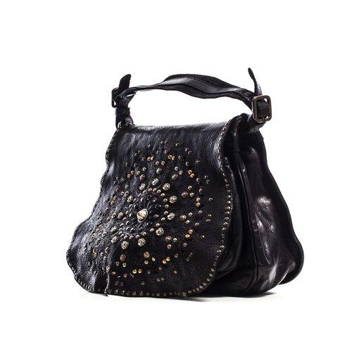 Campomaggi Line AMAMELIDE. 100% genuine leather. Handbag. Nero.