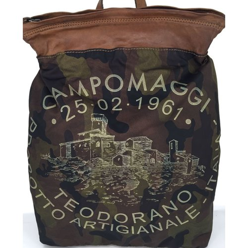 Campomaggi Line FUCUS. Genuine leather and polyamide. Flat backpack. Camoflage tinted military