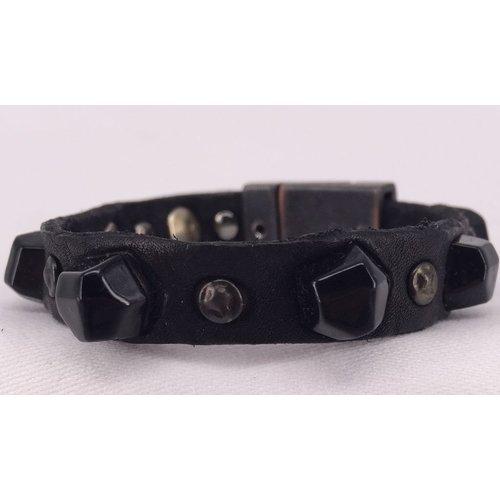 Campomaggi Leather Bracelet. Mixed studs. (E114 VL) Black.