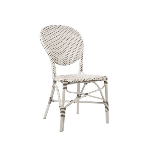 Exterior Isabell Side Chair, Exterior. Aluminium frame with ArtFibre. White w Cappucino Dots