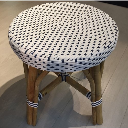 Affaire Simone Bar Stool. White with navy blue dots.