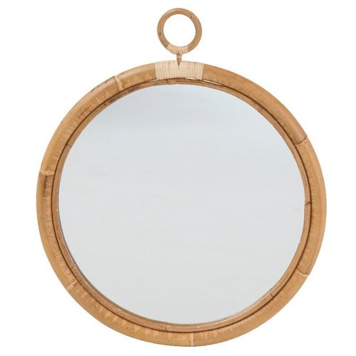 Originals Ella Mirror. Diameter 50cm with skin-on natural rattan.