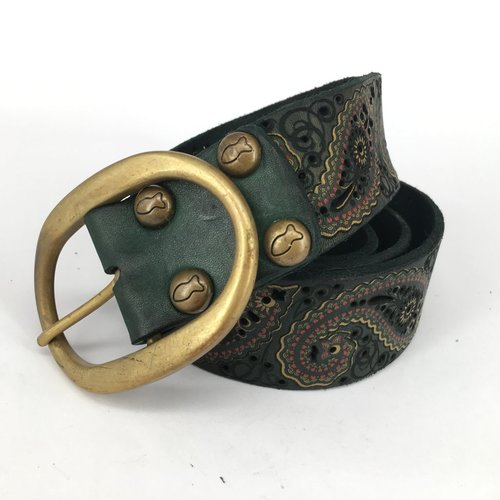 Campomaggi 100% genuine leather belt with lazer cut pattern. Green Bottle. Size 90.