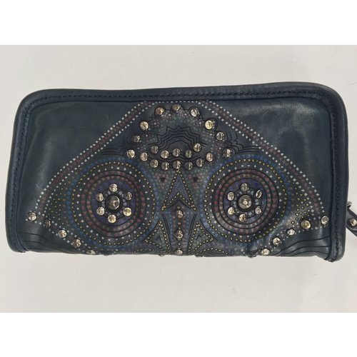 Campomaggi 100% Geniune leather wallet with studs. Blu