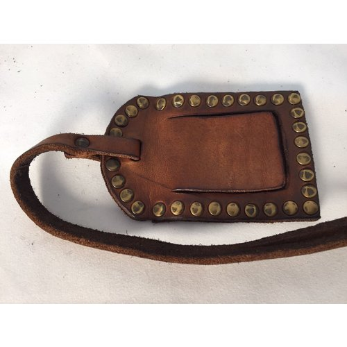 Campomaggi 100% genuine leather. Luggage tag. Cognac
