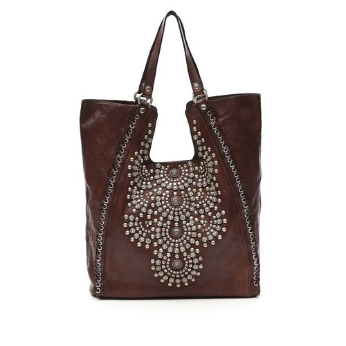 Campomaggi 100% genuine leather. Line CAMELIA. Shopper. Studs. Moro.