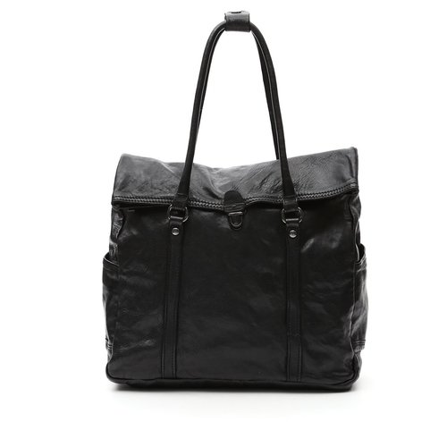 Campomaggi 100% genuine leather. Line GERANIO. Shopper. Nero