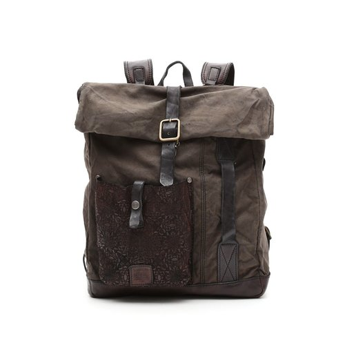 Campomaggi Fabric and Leather Backpack. Line IPERICO. Military + Cognac Stained.