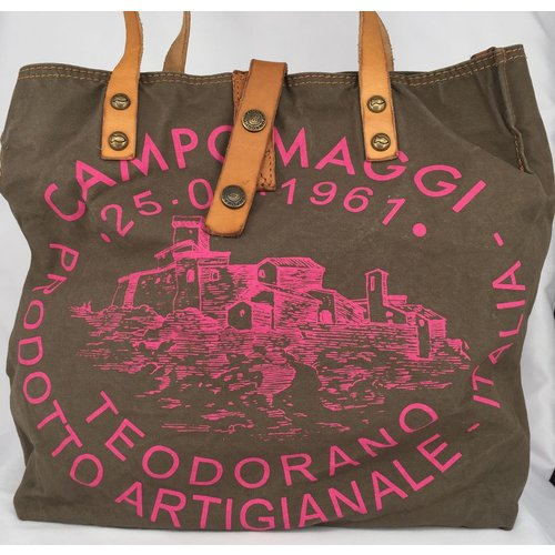 Campomaggi Fabric and leather shopper. (C1389 TEVL) Military + fuchsia print + Natural.