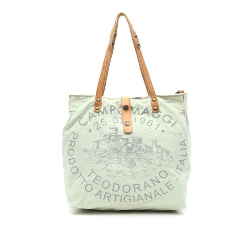 Campomaggi Fabric and leather shopper. (C1389 TEVL). Light green + Natural + Grey print
