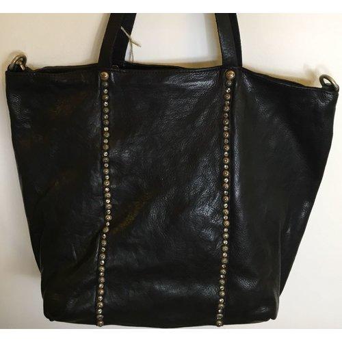 Campomaggi 100% genuine leather. Line DAMIANA. Shopper. Studs Profile. Black.