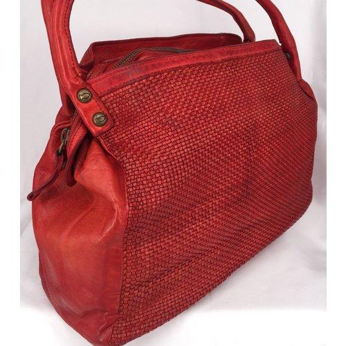 Campomaggi 100% genuine leather. Line EDERA. Shopper thin woven. Rosso