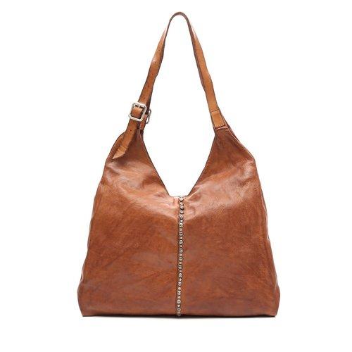 Campomaggi 100% genuine leather. Line DAMIANA. Shopper. Studs Profile. Cognac.