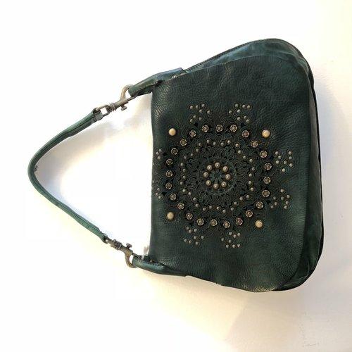 Campomaggi Genuine leather. Cross body bag. Bleached + studs + laser serenoa. Green Bottle.