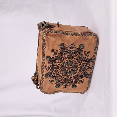 Campomaggi Genuine Leather cross body bag. Bleached + Studs + Lazer Serenoa P/D. Cognac.