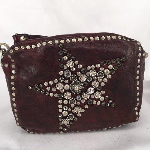 Campomaggi 100% genuine leather. Line STELLA ALPINA. Bowling bag. Star stud pattern. Vinaccia