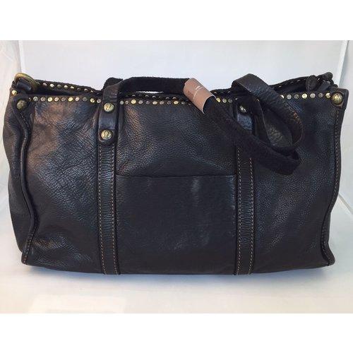 Campomaggi Line ALTEA. 100% leather bag. Small stud line. Nero.