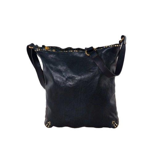 Campomaggi Line ALTEA. 100% leather small handbag. Small stud line. Nero