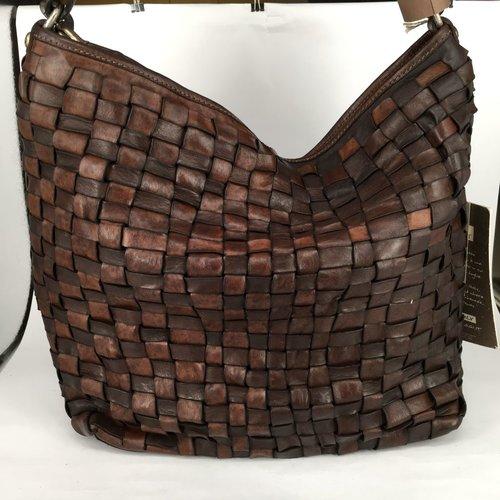 Campomaggi 100% genuine leather. Line EDERA. Hobo bag. Woven leather. Moro