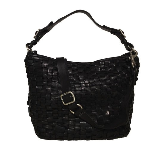 Campomaggi 100% genuine leather. Line EDERA. Hobo bag. Woven leather. Nero