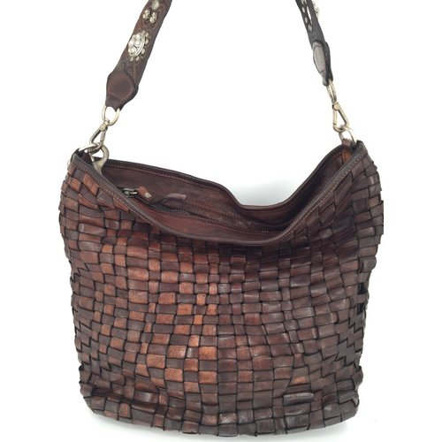 Campomaggi 100% genuine leather. Line EDERA. Handbag. Woven leather. Moro