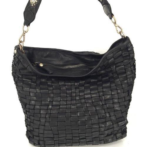 Campomaggi 100% genuine leather. Line EDERA. Handbag. Woven leather. Nero