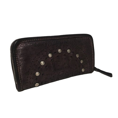 Campomaggi Genuine Leather wallet. Lazer patterns and studs. Nero