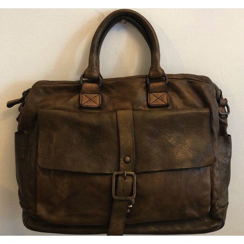 Campomaggi 100% genuine leather. Briefcase. Military green