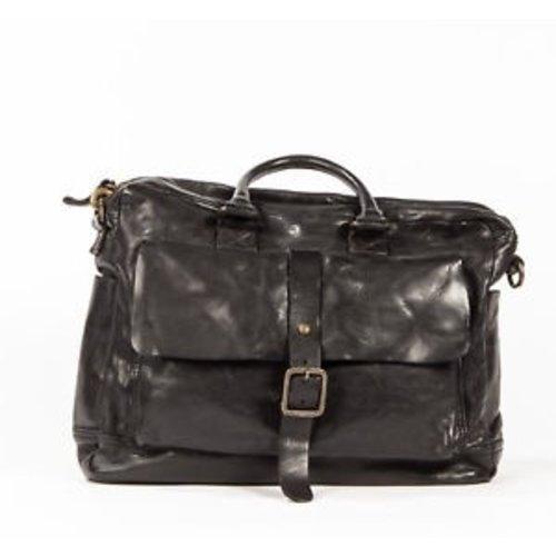 Campomaggi 100% genuine leather. Briefcase. Black.