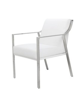 Nuevo Living VALENTINE DINING CHAIR WHITE SEAT NAUGAHYDE STAINLESS STEEL POLISHED
