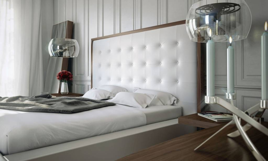 Modloft Ludlow Bed - King Walnut-White Leather