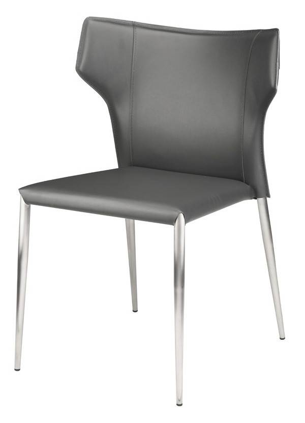 Nuevo Living WAYNE DINING CHAIR GREY LEATHER Silver