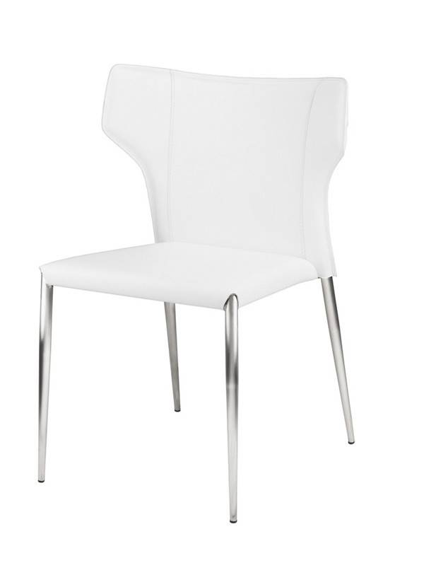 Nuevo Living WAYNE DINING CHAIR WHITE LEATHER METAL LEGS