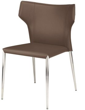 Nuevo Living WAYNE DINING CHAIR MINK SEAT SILVER LEGS