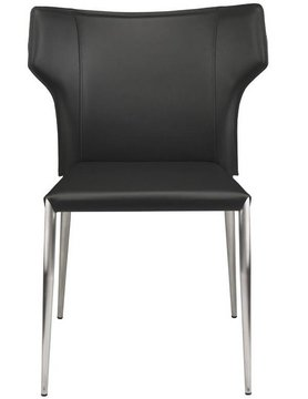 Nuevo Living WAYNE DINING CHAIR LEATHER BLACK SILVER LEGS